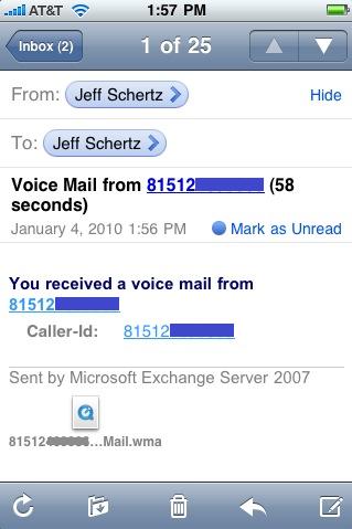 Exchange 2010 Voice Mail with the iPhone : Jeff Schertz's Blog