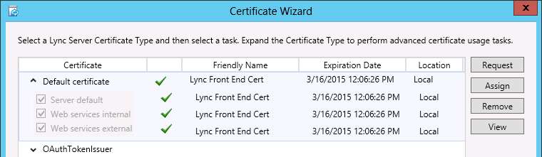 Lync server 2013 deployment part 2 since this is the first lync 2013 server in the topology then an additional shared certificate needs to be created for use with a new open authentication yadclub Images