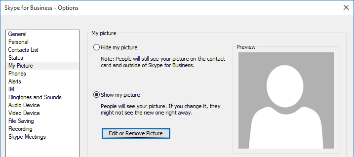 High Resolution Photos in Skype for Business : Jeff