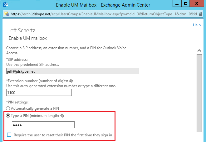 Skype for Business and Exchange UM Integration : Jeff
